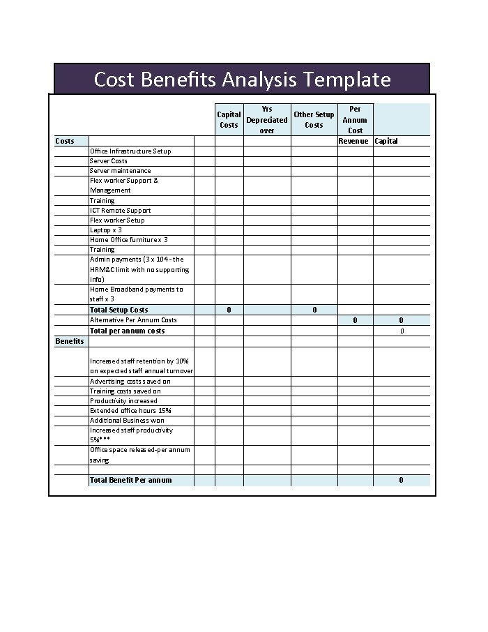 Cost Benefit Analysis Template 03