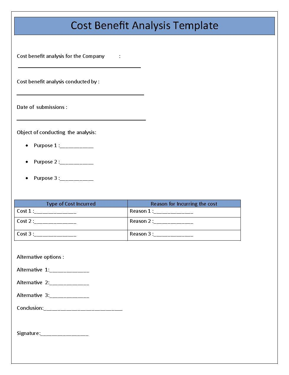 Cost Benefit Analysis Template 04
