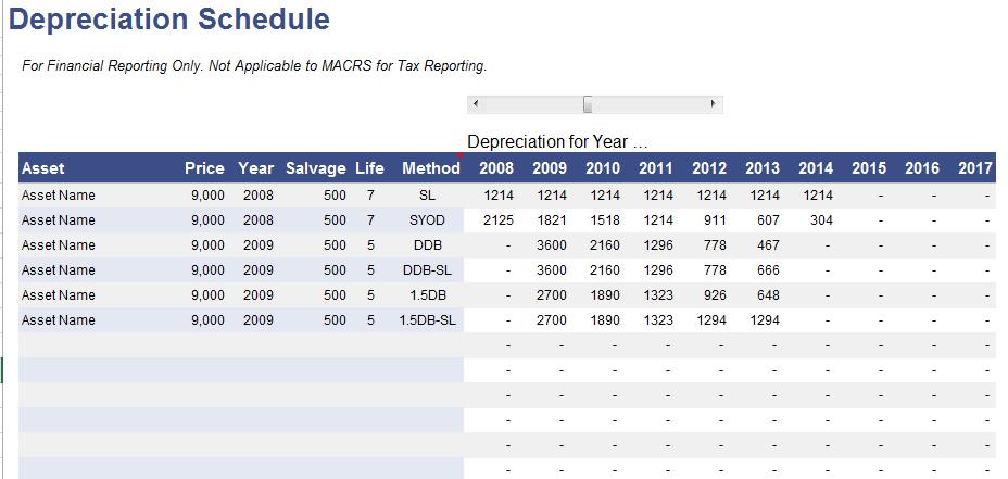 depreciation schedule template 01