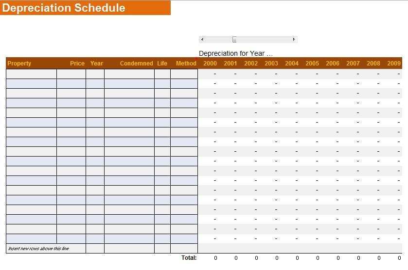 depreciation schedule template 10