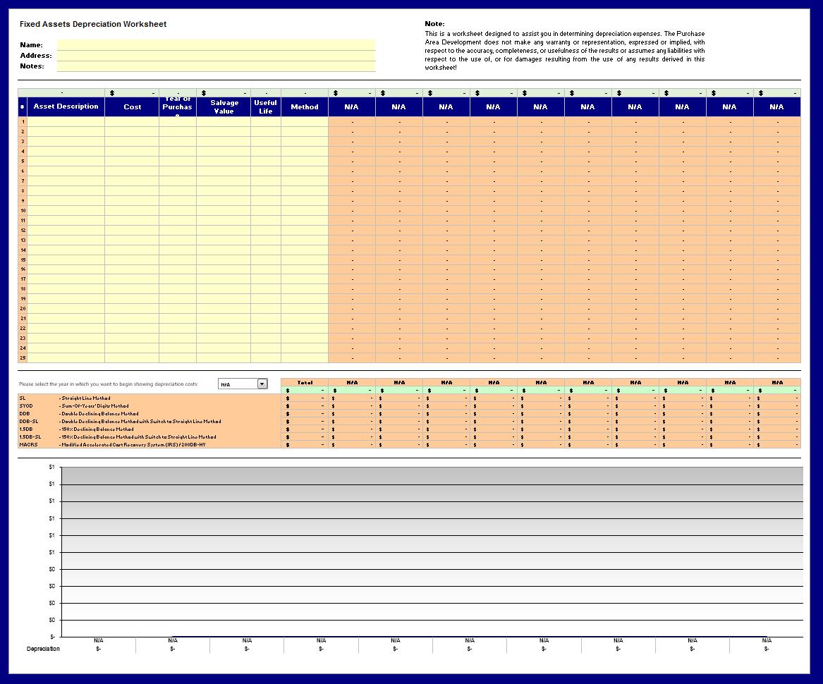 depreciation schedule template 14