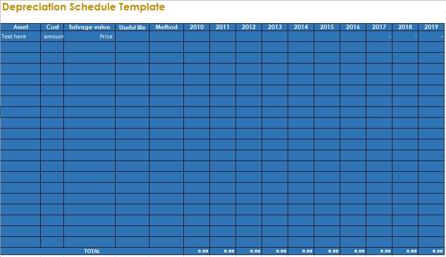 depreciation schedule template 18