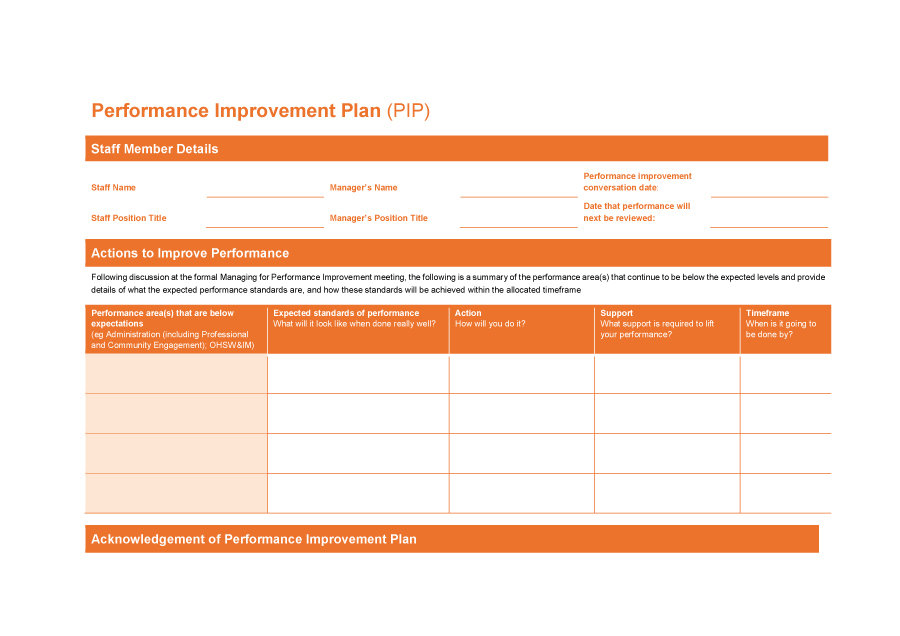 performance improvement plan template 21