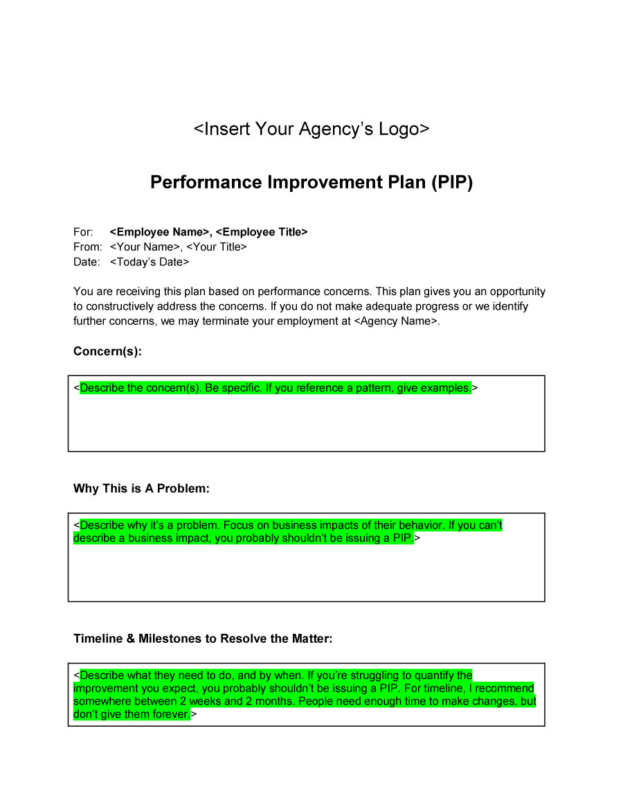 performance improvement plan template 25