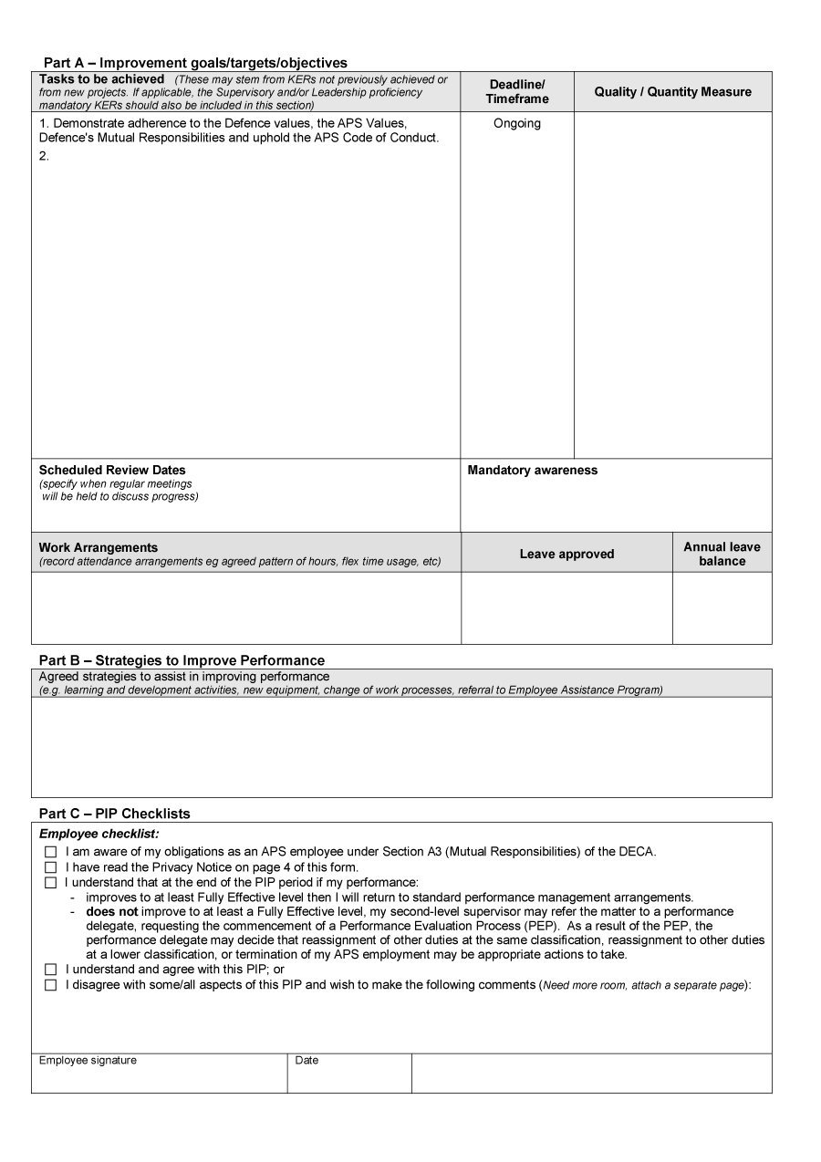 performance improvement plan template 40