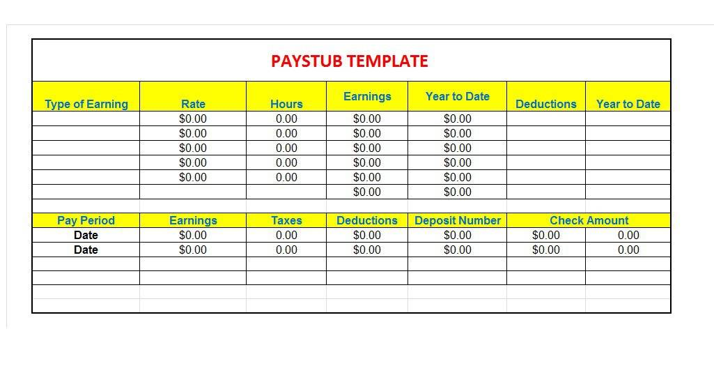 Paystub Excel Template 02