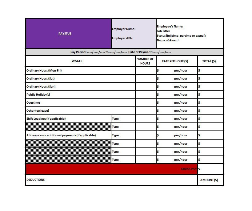 Paystub Excel Template 04
