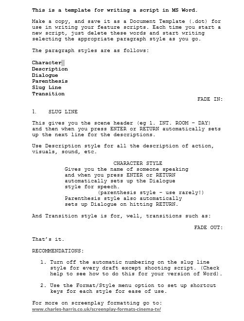 Screenplay Template 17
