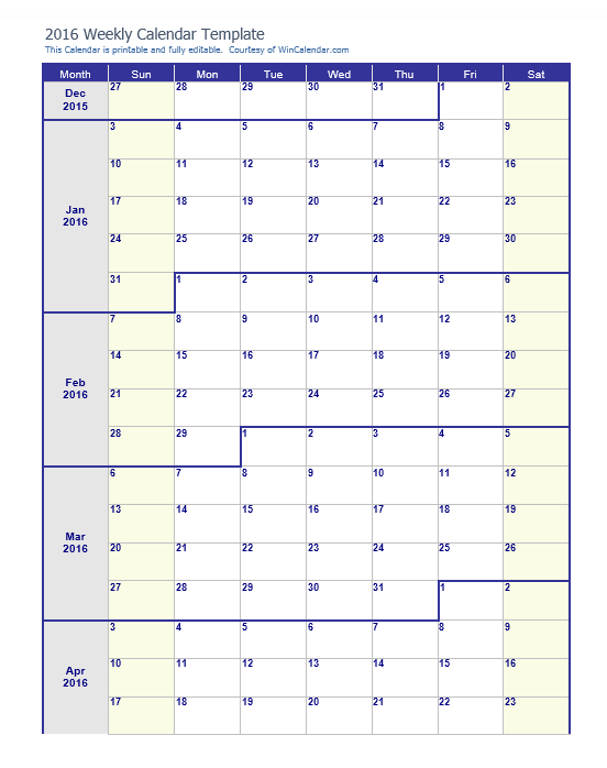 weekly calendar template 06