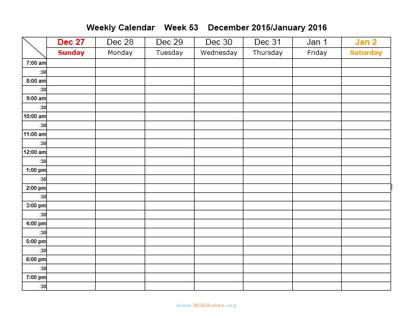 weekly calendar template 10