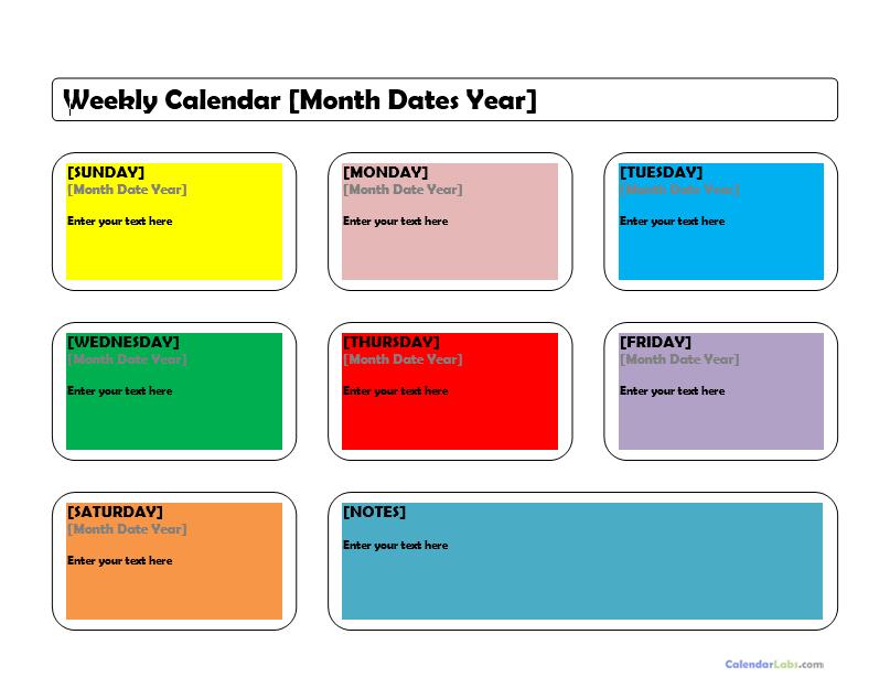 weekly calendar template 14
