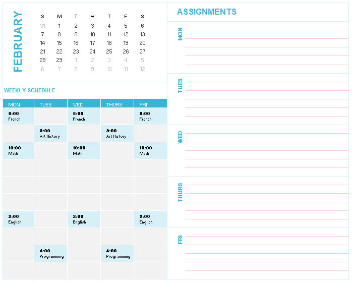 weekly calendar template 18