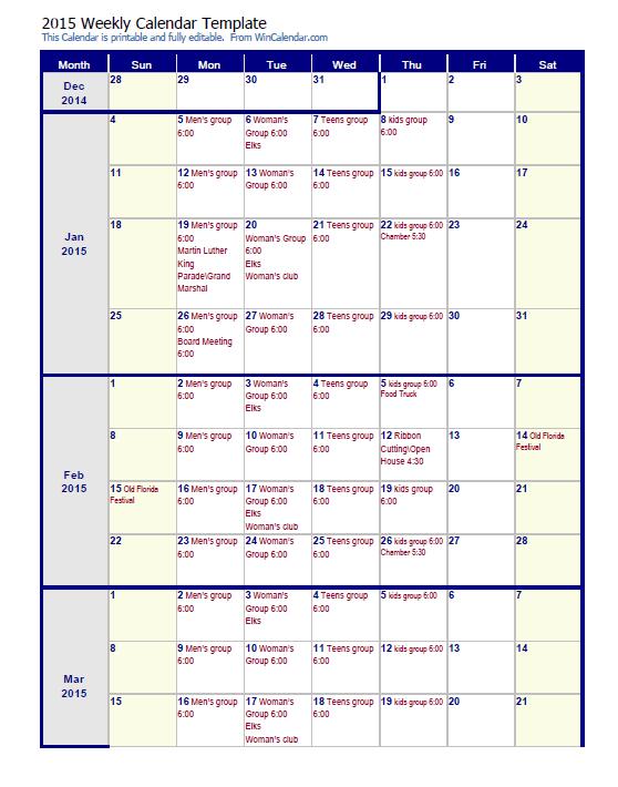 weekly calendar template 23