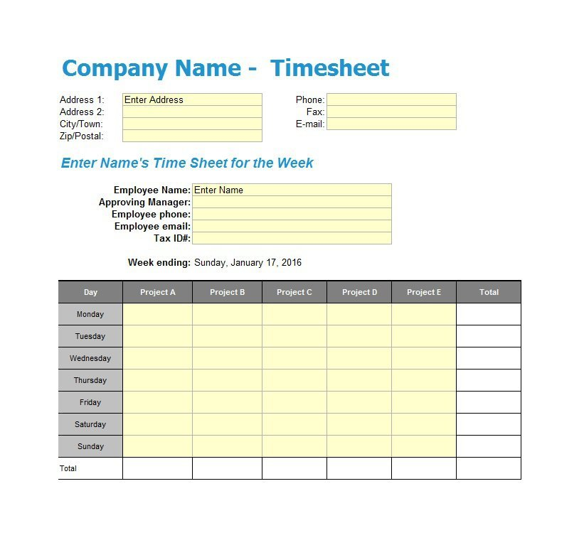 Project Timesheet Template 01