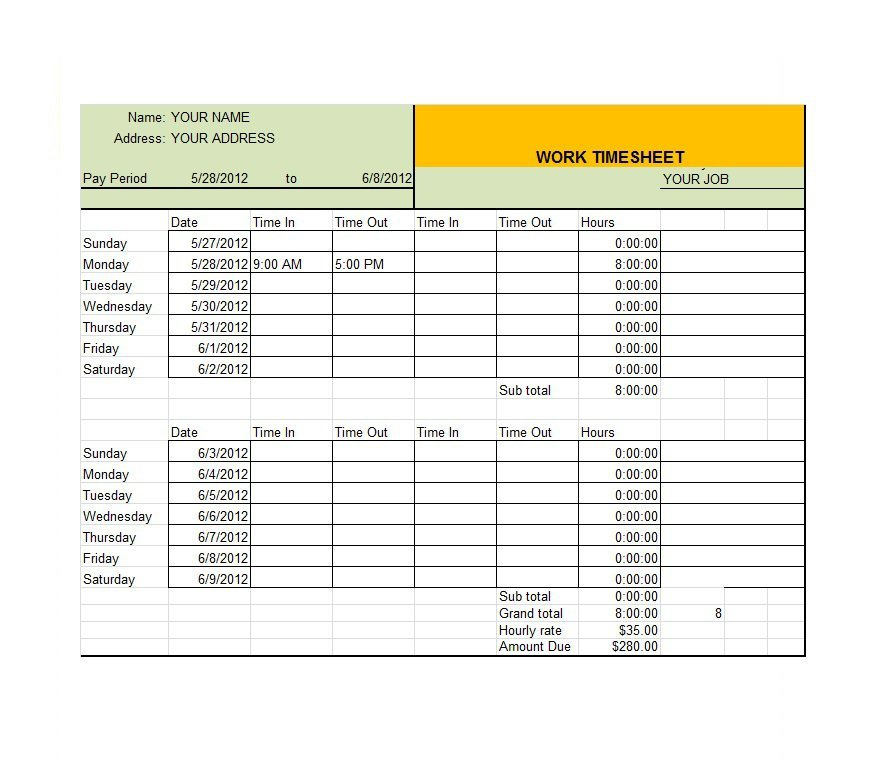 Project Timesheet Template 06