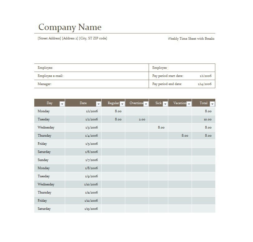 Project Timesheet Template 07