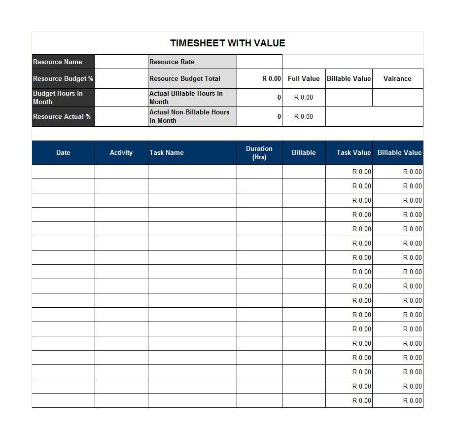 Project Timesheet Template 08
