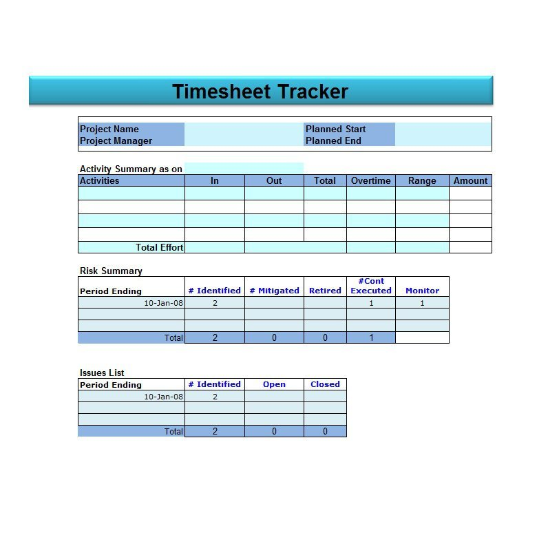 Project Timesheet Template 09