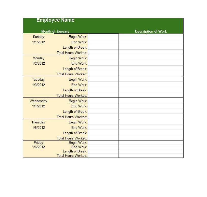 Project Timesheet Template 10