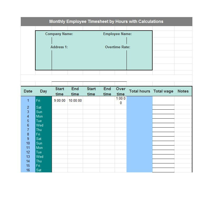 Project Timesheet Template 11