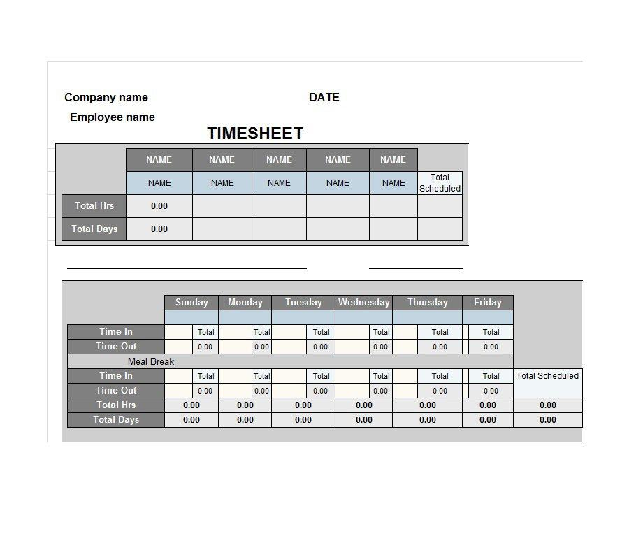 Project Timesheet Template 12