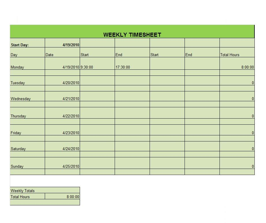 Project Timesheet Template 13