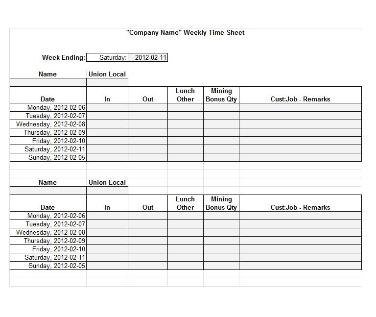 Project Timesheet Template 14