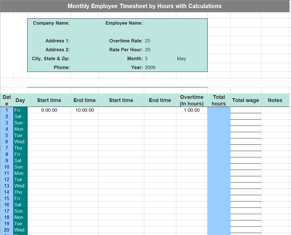 Project Timesheet Template 15