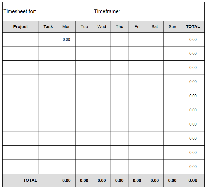 Project Timesheet Template 16