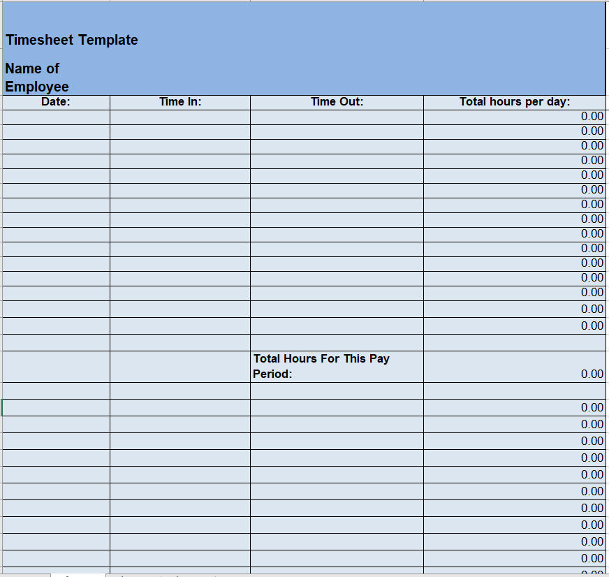 Project Timesheet Template 18
