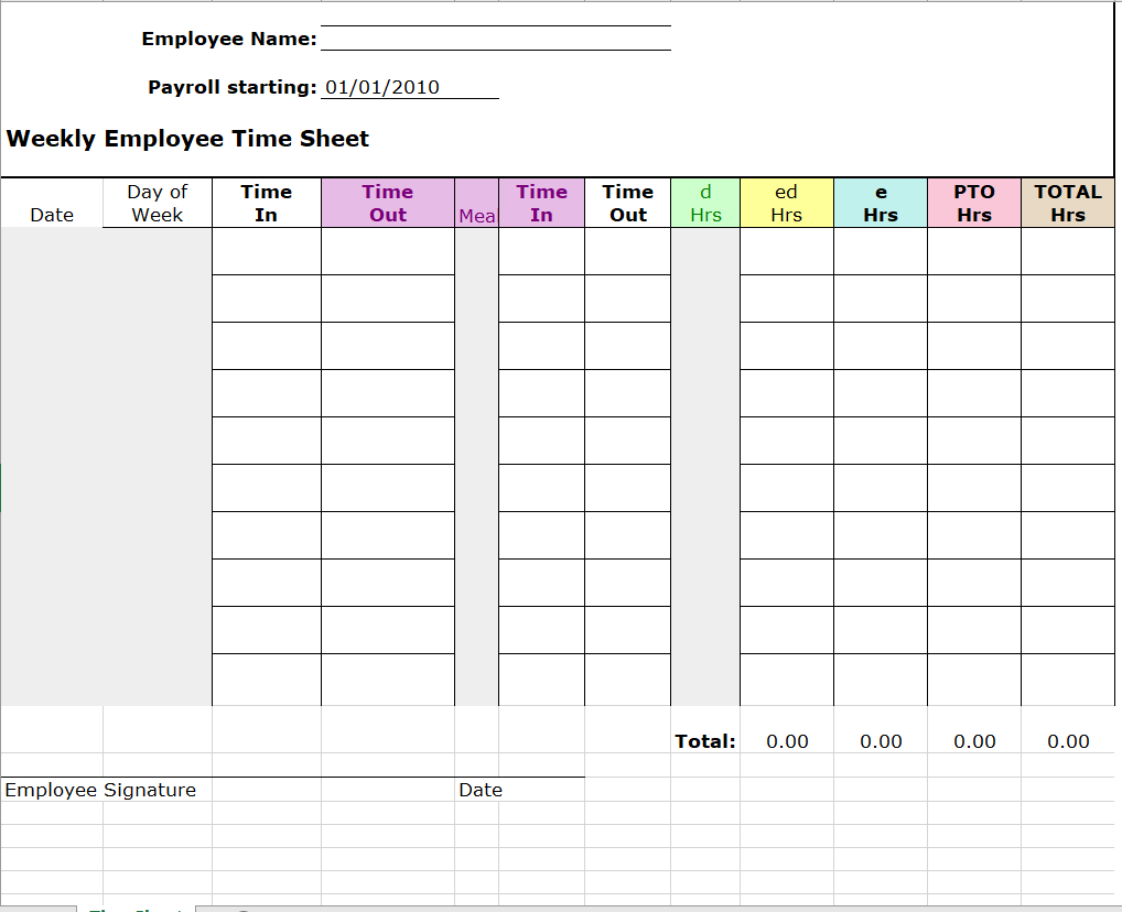 Project Timesheet Template 20