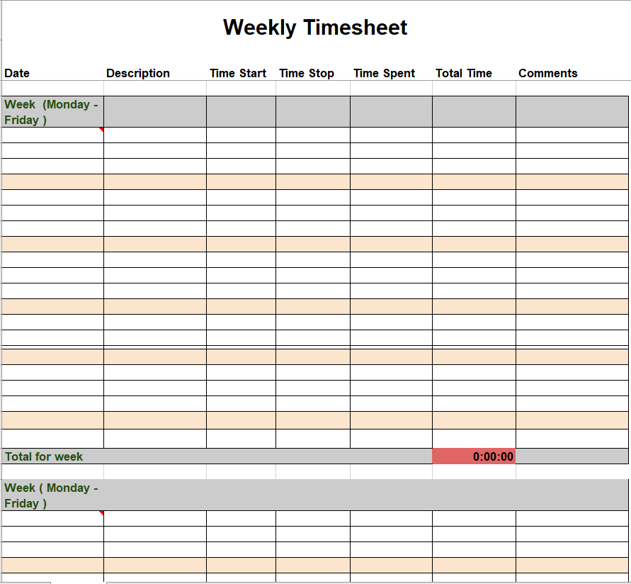 Project Timesheet Template 23