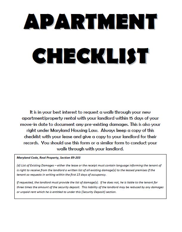 New Apartment Checklist 13