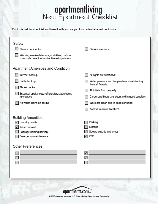 New Apartment Checklist 14