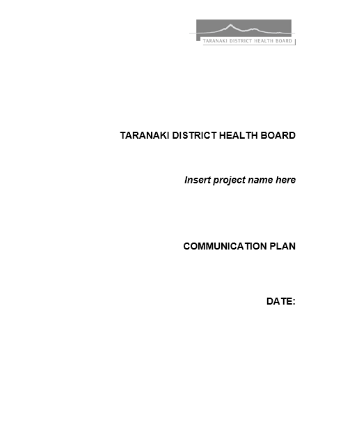 Communication Plan Template 007