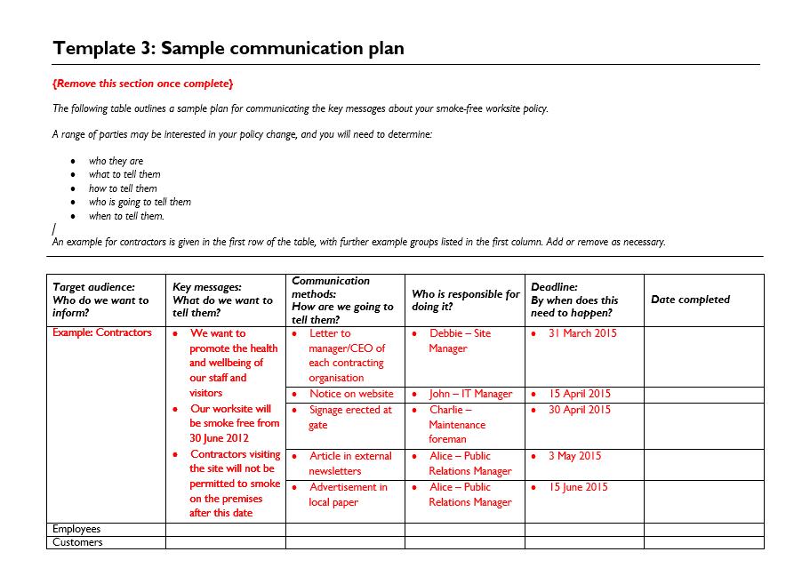 Communication Plan Template 008