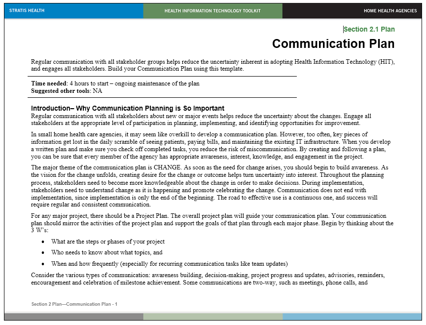 Communication Plan Template 014