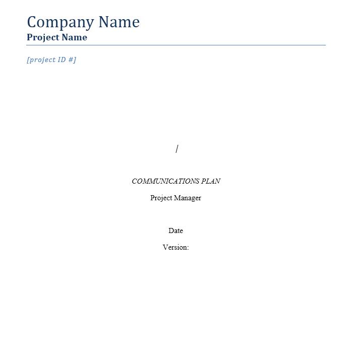 Communication Plan Template 019