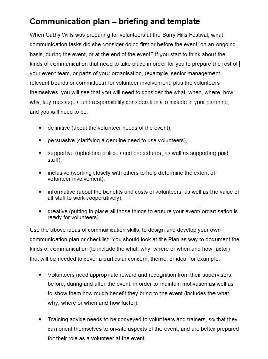 Communication Plan Template 021