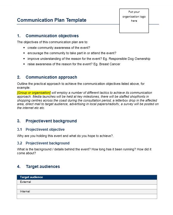 Communication Plan Template 022