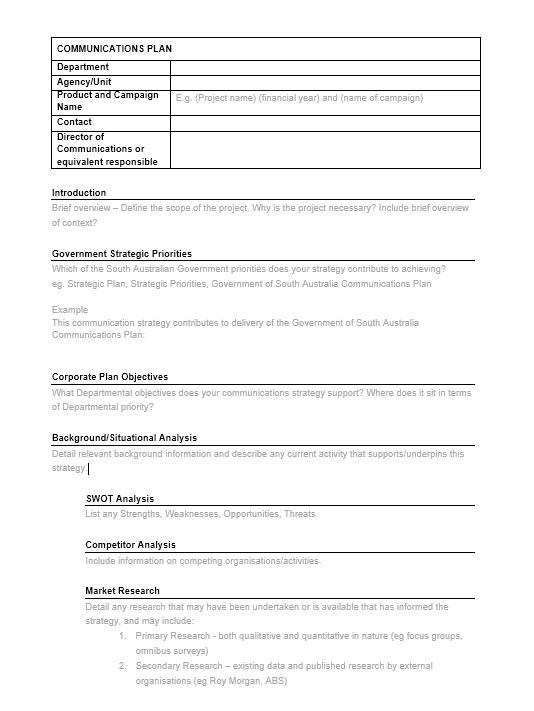 Communication Plan Template 025
