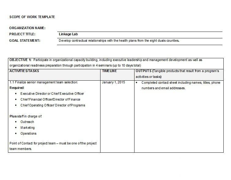 Scope of work template 019