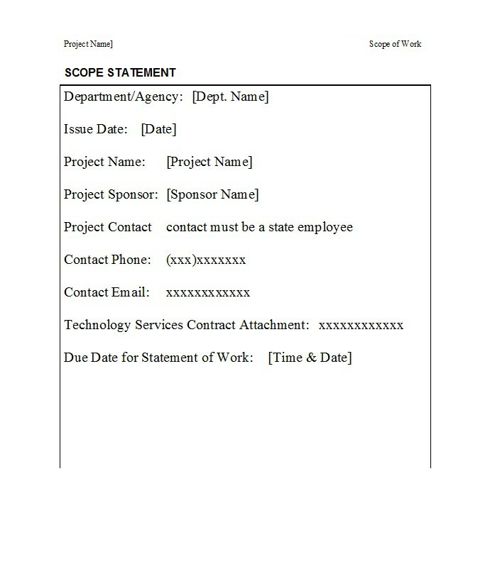 Scope of work template 020